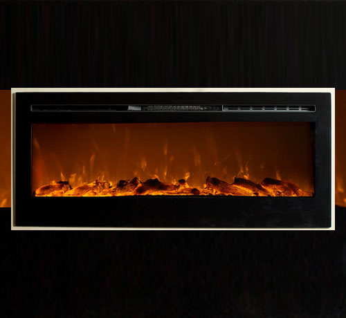 Black Insert Type Wall Mounted Electric Fireplace Unit