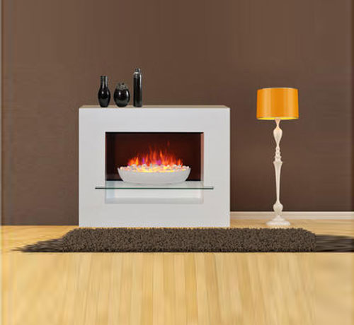 Bowl With Pebbles Fireplace With White Mantel