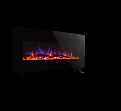 LED Black Curved Wall Mounted Electric Fireplace Unit