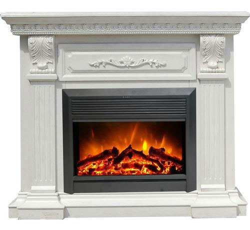 White MDF Mantel Electric Fireplace